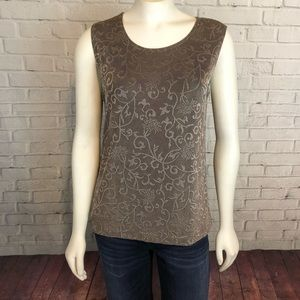 Chico's Travelers Floral Tank Top Sz 1 M USA Made